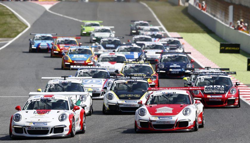 Start Matteo Cairoli (I) Sven Müller (D) Mathieu Jaminet (F) Michael Ammermüller (D) Jeffrey Schmidt (CH) Porsche Mobil 1 Supercup Barcelona 2016 Photo: Porsche Presse
